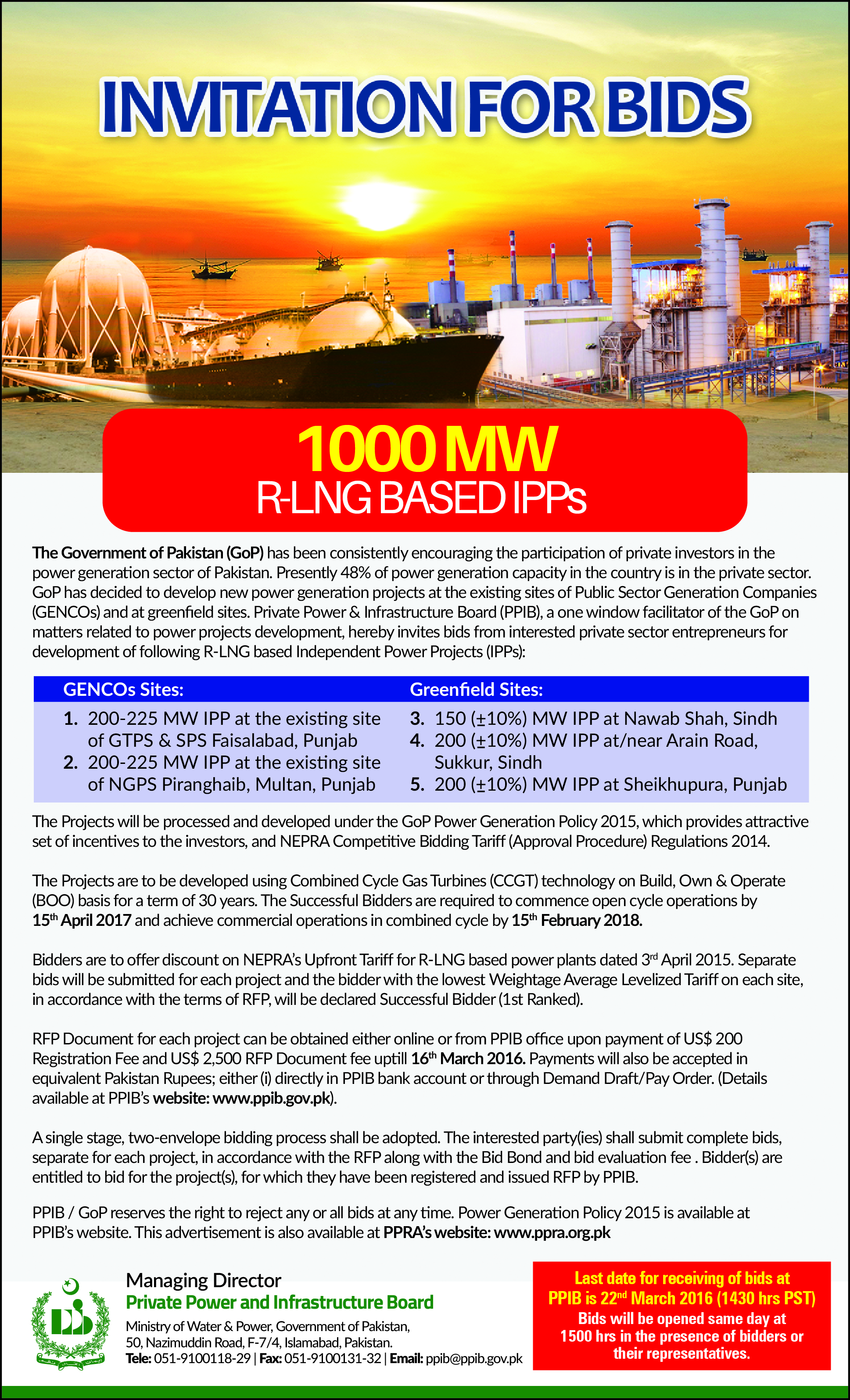 Invitation for bids 1000 mw r lng based independent power projects invitation for bids 1000 mw r lng based independent power projects ipps stopboris Choice Image
